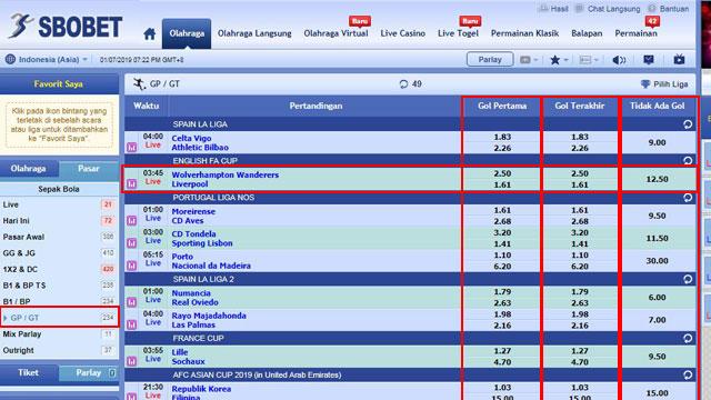 Cara Bermain First Goal / Last Goal (FG/LG)